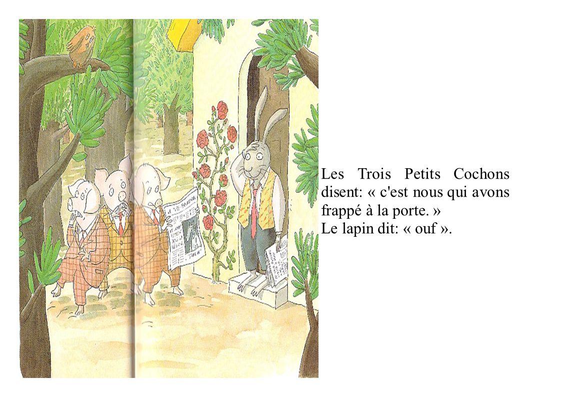 Les Trois Petits Cochons disent: « c est nous qui avons frappé à la porte. » Le lapin dit: « ouf ».