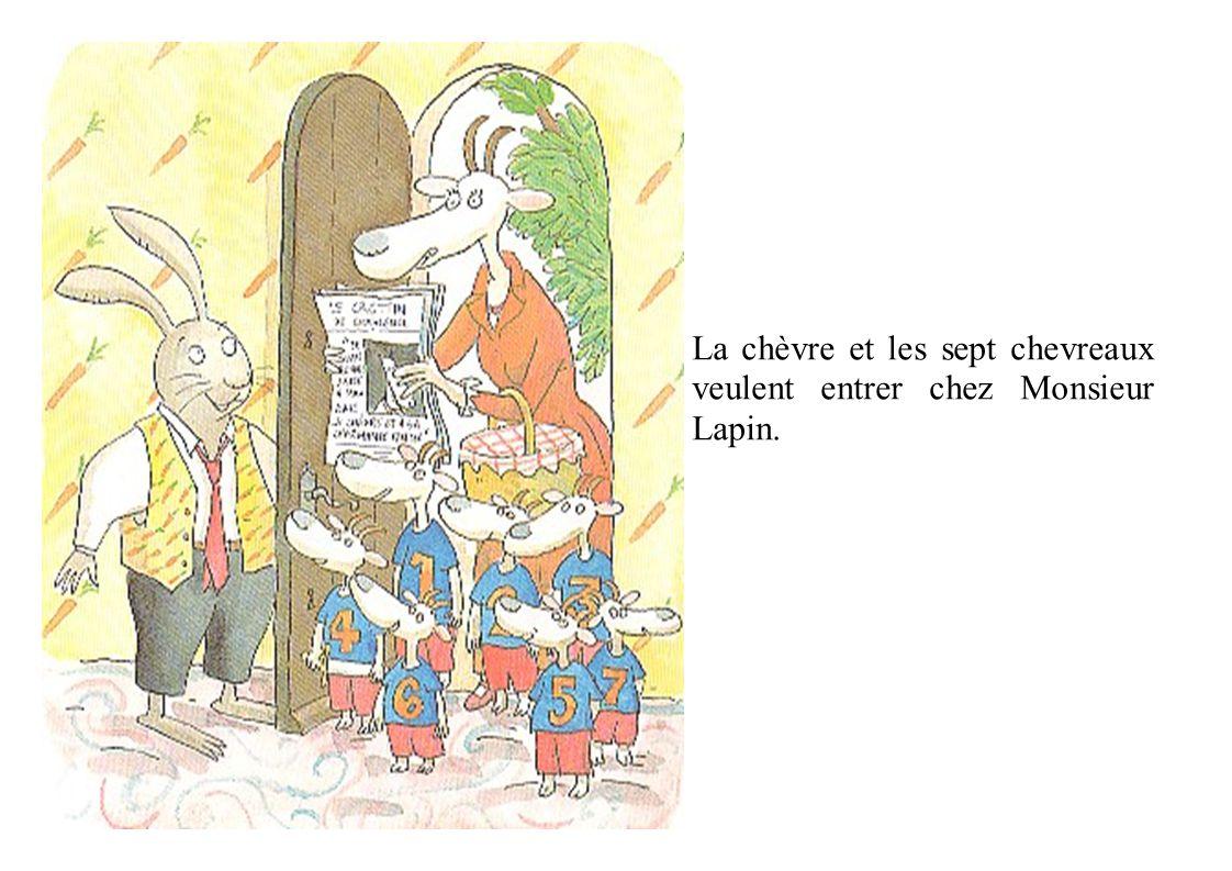 Les Trois Petits Cochons disent: « c'est nous qui avons frappé à la porte. » Le lapin dit: « ouf ».