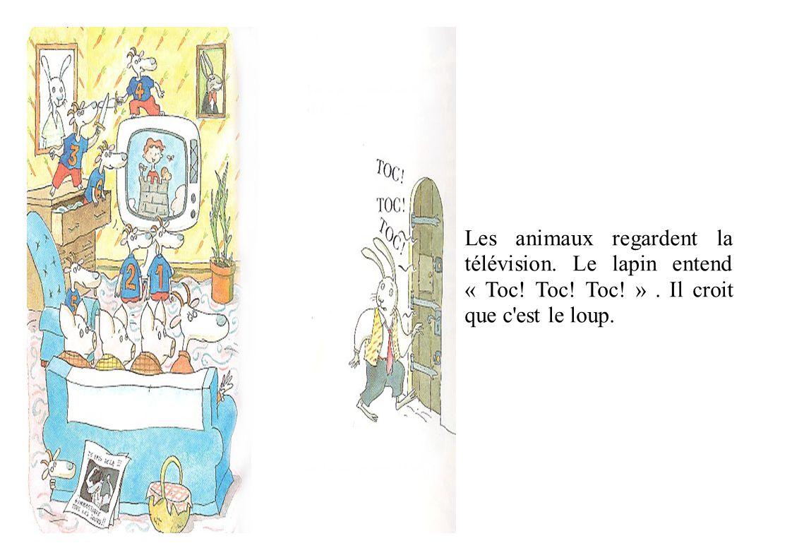 La chèvre et les sept chevreaux veulent entrer chez Monsieur Lapin.