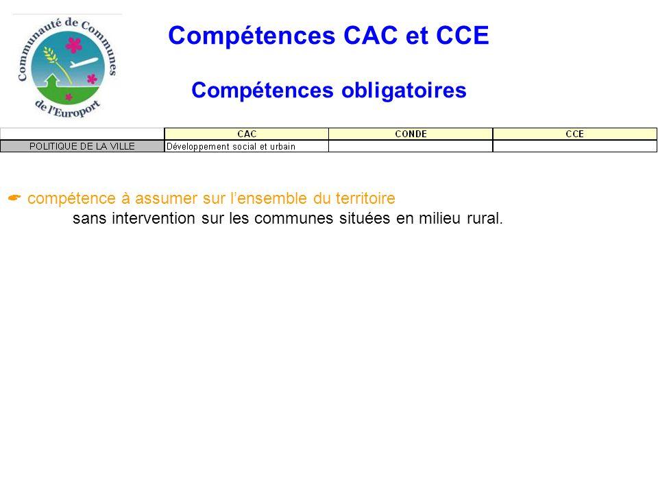 Compétences CAC et CCE Compétences obligatoires  compétence à assumer sur l'ensemble du territoire sans intervention sur les communes situées en milieu rural.