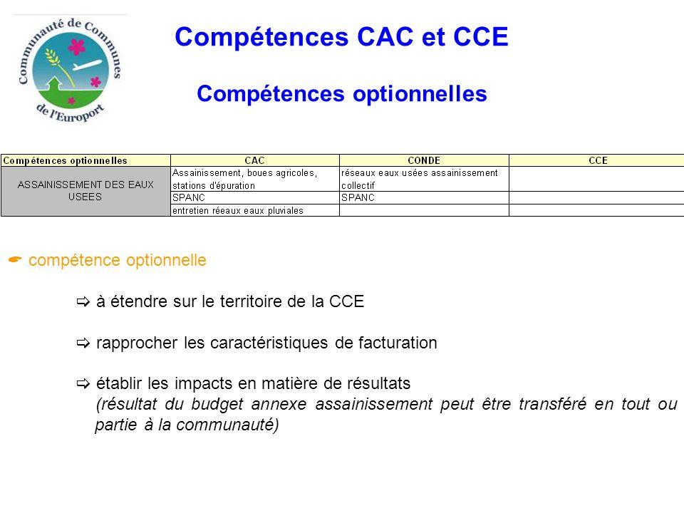 Compétences CAC et CCE Compétences optionnelles  compétence optionnelle  à étendre sur le territoire de la CCE  rapprocher les caractéristiques de facturation  établir les impacts en matière de résultats (résultat du budget annexe assainissement peut être transféré en tout ou partie à la communauté)