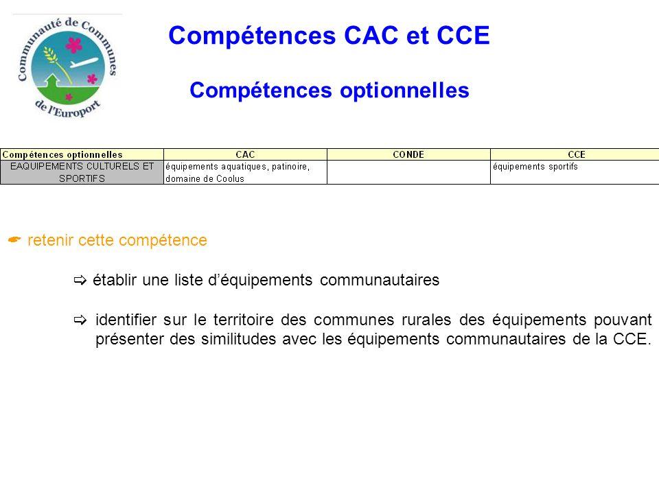 Compétences CAC et CCE Compétences optionnelles  retenir cette compétence  établir une liste d'équipements communautaires  identifier sur le territoire des communes rurales des équipements pouvant présenter des similitudes avec les équipements communautaires de la CCE.