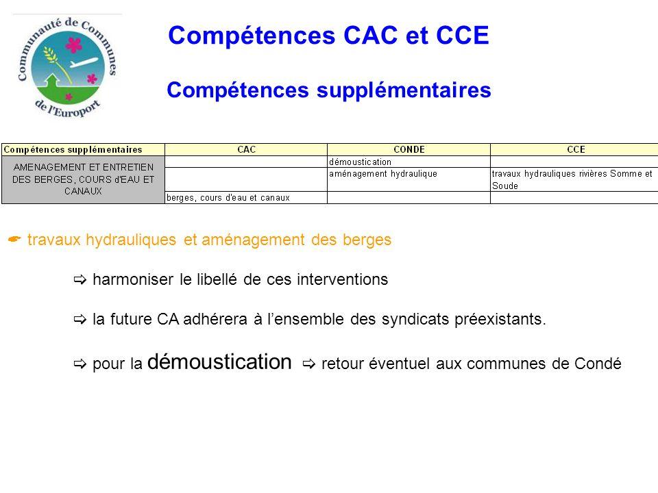 Compétences CAC et CCE Compétences supplémentaires  travaux hydrauliques et aménagement des berges  harmoniser le libellé de ces interventions  la future CA adhérera à l'ensemble des syndicats préexistants.