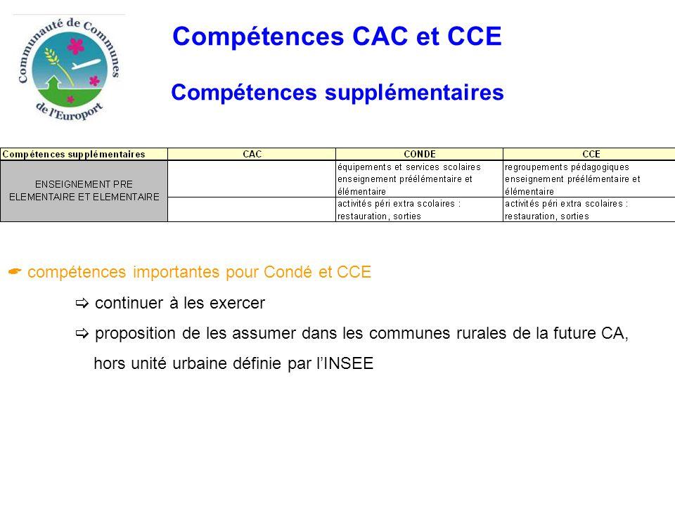 Compétences CAC et CCE Compétences supplémentaires  compétences importantes pour Condé et CCE  continuer à les exercer  proposition de les assumer dans les communes rurales de la future CA, hors unité urbaine définie par l'INSEE