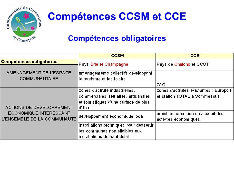 Compétences CAC et CCE Compétences optionnelles Conclusion sur les compétences optionnelles  les compétences assainissement, ordures ménagères et équipements culturels et sportifs pourraient être assumées par la nouvelle CA  le transfert de la voirie apparaît plus délicat