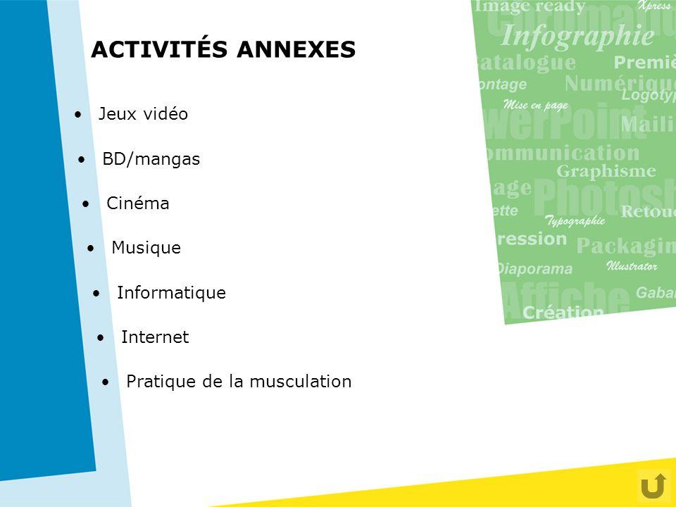ACTIVITÉS ANNEXES Jeux vidéo BD/mangas Cinéma Musique Informatique Pratique de la musculation Internet