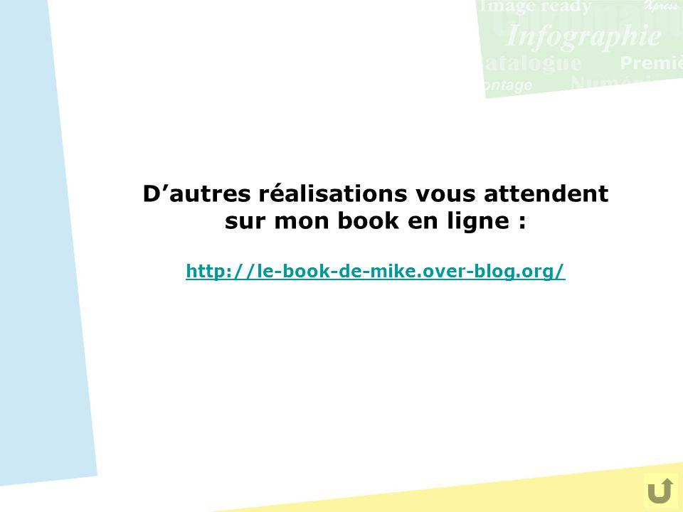 D'autres réalisations vous attendent sur mon book en ligne : http://le-book-de-mike.over-blog.org/ http://le-book-de-mike.over-blog.org/
