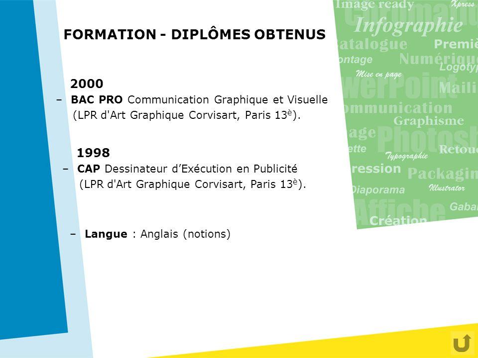 FORMATION - DIPLÔMES OBTENUS 2000 –BAC PRO Communication Graphique et Visuelle (LPR d'Art Graphique Corvisart, Paris 13 è ). 1998 –CAP Dessinateur d'E