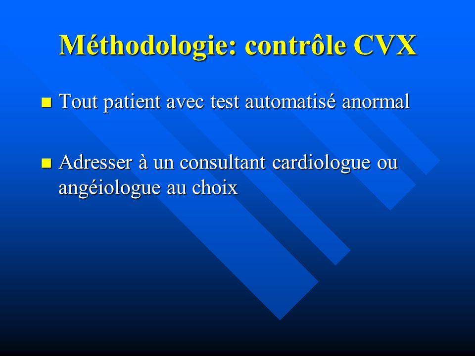Méthodologie: contrôle CVX Tout patient avec test automatisé anormal Tout patient avec test automatisé anormal Adresser à un consultant cardiologue ou