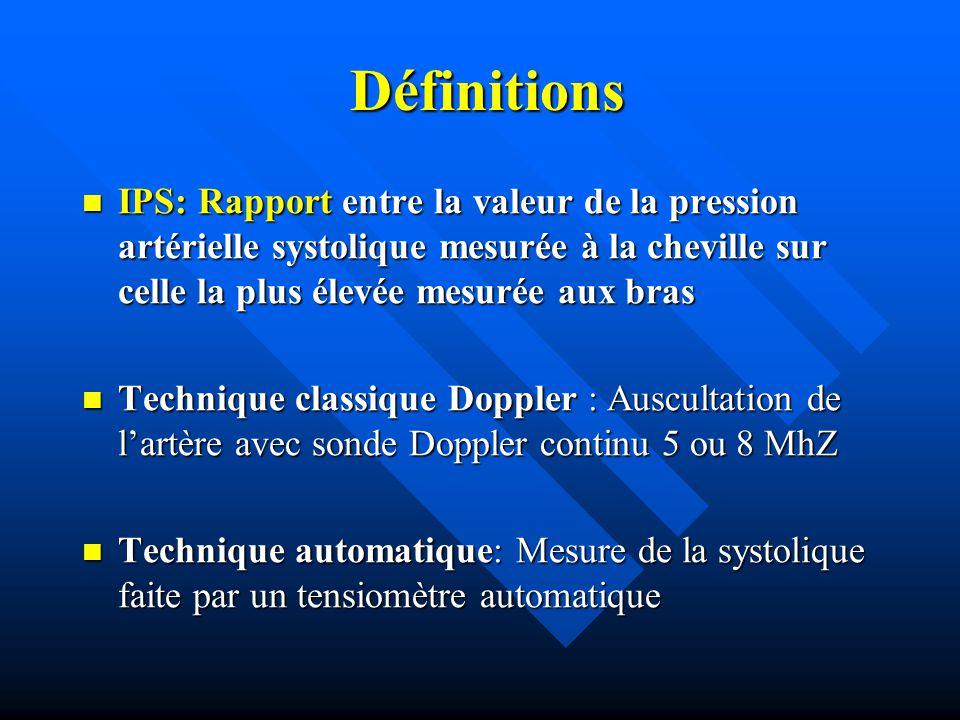 Définitions Définitions IPS: Rapport entre la valeur de la pression artérielle systolique mesurée à la cheville sur celle la plus élevée mesurée aux b