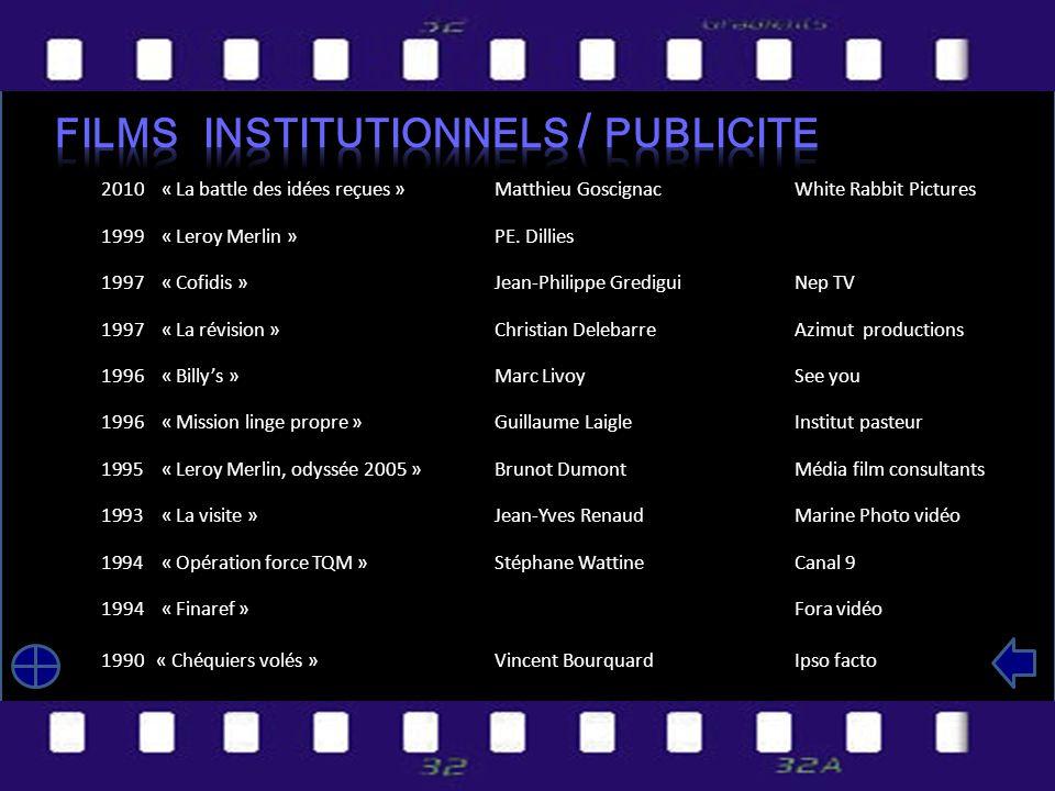 2010 « La battle des idées reçues »Matthieu GoscignacWhite Rabbit Pictures 1999 « Leroy Merlin »PE.