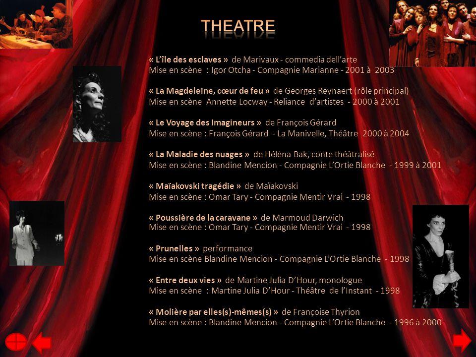 « L'île des esclaves » de Marivaux - commedia dell'arte Mise en scène : Igor Otcha - Compagnie Marianne - 2001 à 2003 « La Magdeleine, cœur de feu » de Georges Reynaert (rôle principal) Mise en scène Annette Locway - Reliance d'artistes - 2000 à 2001 « Le Voyage des Imagineurs » de François Gérard Mise en scène : François Gérard - La Manivelle, Théâtre 2000 à 2004 « La Maladie des nuages » de Héléna Bak, conte théâtralisé Mise en scène : Blandine Mencion - Compagnie L'Ortie Blanche - 1999 à 2001 « Maïakovski tragédie » de Maïakovski Mise en scène : Omar Tary - Compagnie Mentir Vrai - 1998 « Poussière de la caravane » de Marmoud Darwich Mise en scène : Omar Tary - Compagnie Mentir Vrai - 1998 « Prunelles » performance Mise en scène Blandine Mencion - Compagnie L'Ortie Blanche - 1998 « Entre deux vies » de Martine Julia D'Hour, monologue Mise en scène : Martine Julia D'Hour - Théâtre de l'Instant - 1998 « Molière par elles(s)-mêmes(s) » de Françoise Thyrion Mise en scène : Blandine Mencion - Compagnie L'Ortie Blanche - 1996 à 2000