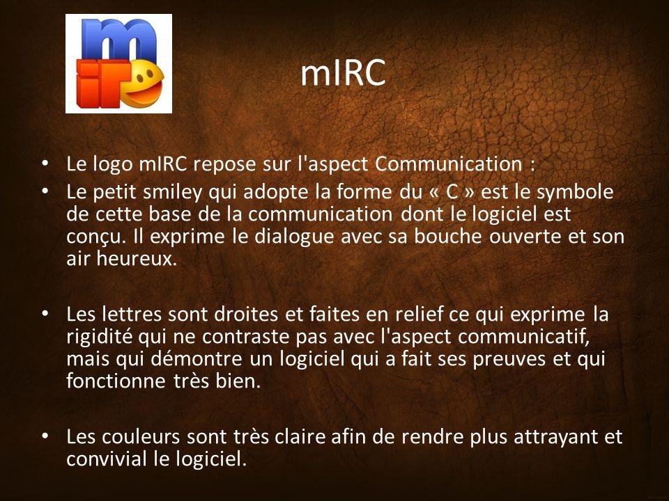 mIRC Le logo mIRC repose sur l'aspect Communication : Le petit smiley qui adopte la forme du « C » est le symbole de cette base de la communication do