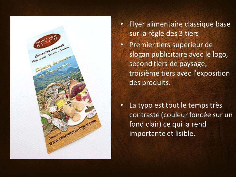 Flyer alimentaire classique basé sur la règle des 3 tiers Premier tiers supérieur de slogan publicitaire avec le logo, second tiers de paysage, troisi