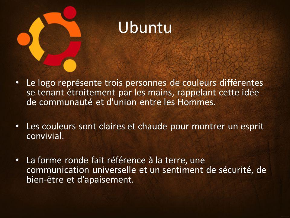 Ubuntu Le logo représente trois personnes de couleurs différentes se tenant étroitement par les mains, rappelant cette idée de communauté et d'union e