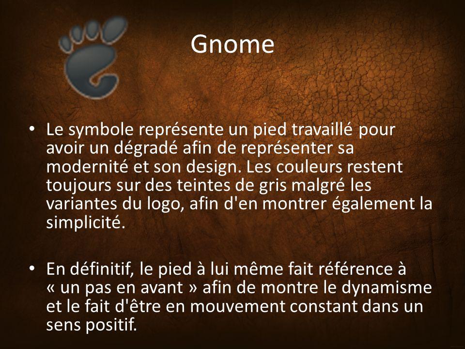 Gnome Le symbole représente un pied travaillé pour avoir un dégradé afin de représenter sa modernité et son design. Les couleurs restent toujours sur