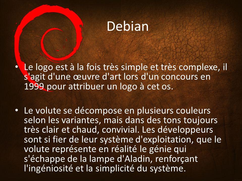 Debian Le logo est à la fois très simple et très complexe, il s'agit d'une œuvre d'art lors d'un concours en 1999 pour attribuer un logo à cet os. Le