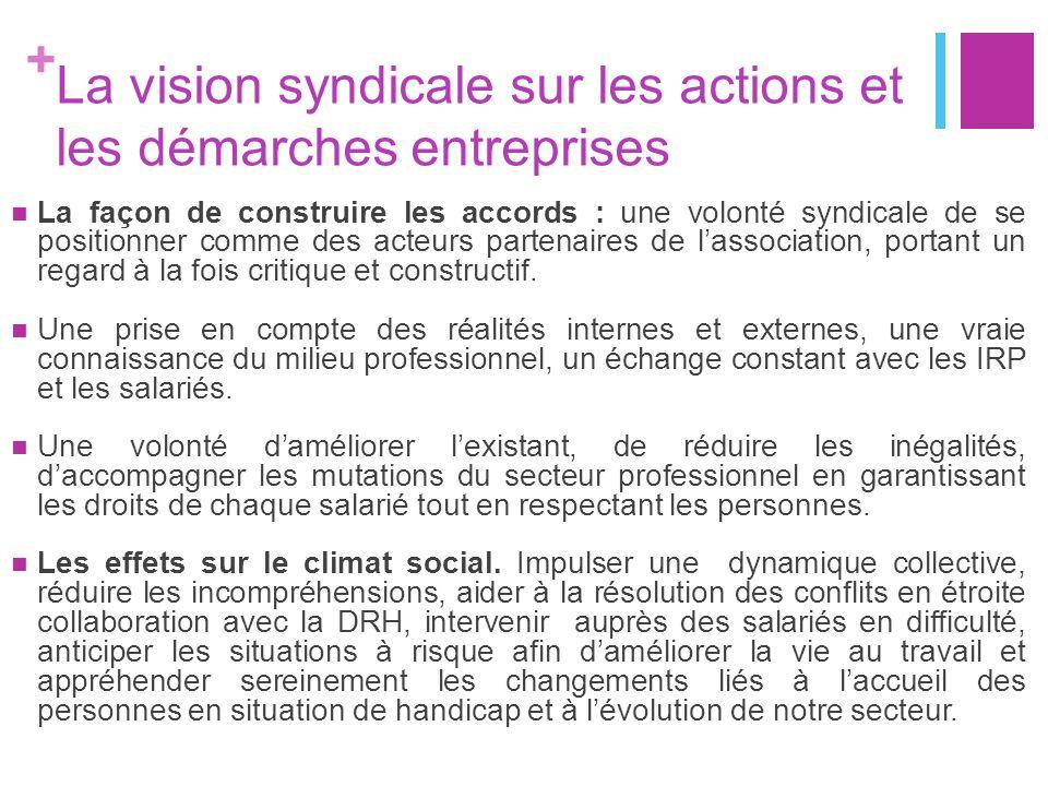 + La vision syndicale sur les actions et les démarches entreprises Un dialogue social réinventé: un partenariat constructif plutôt qu'un combat systématique, un regard critique mais une force de proposition campée sur les valeurs de la CFDT.