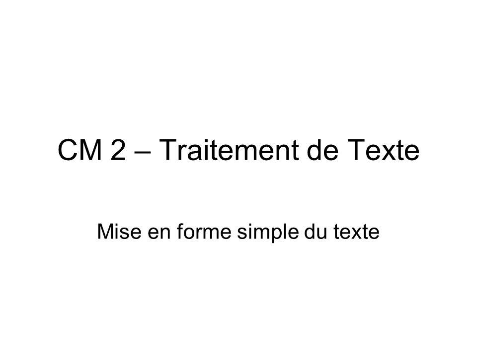 CM 2 – Traitement de Texte Mise en forme simple du texte