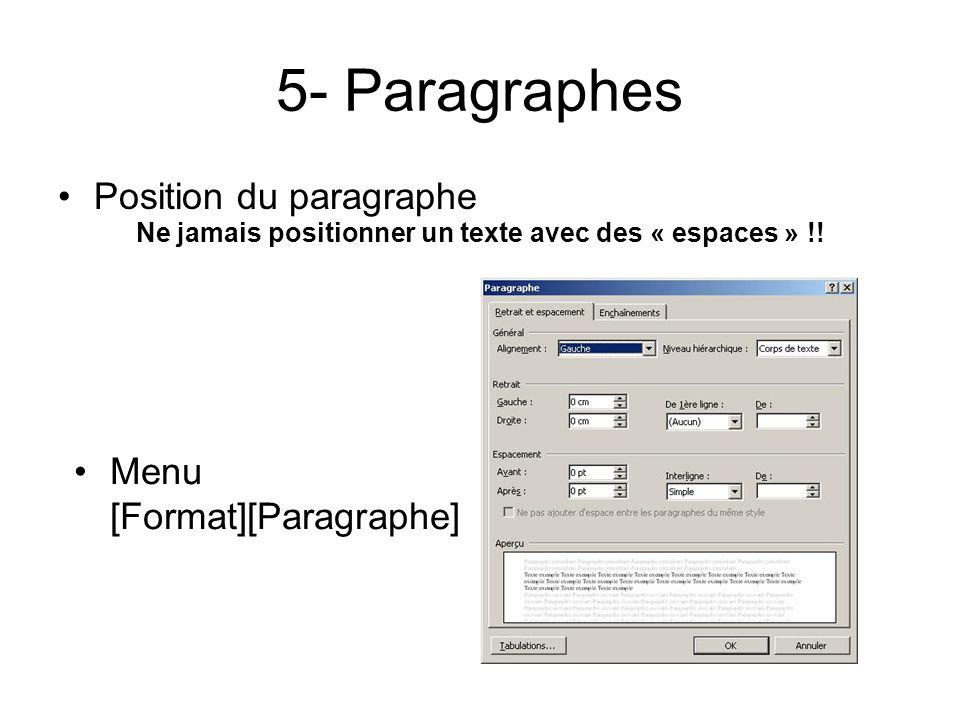 5- Paragraphes Position du paragraphe Ne jamais positionner un texte avec des « espaces » !.