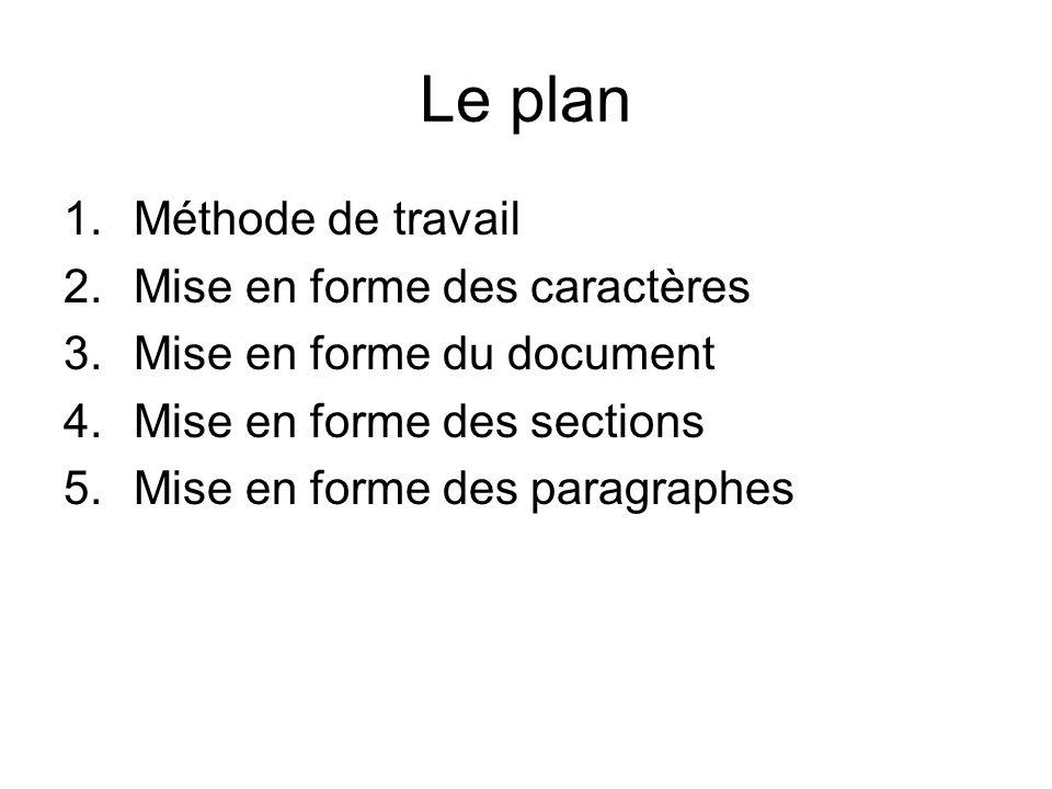 Le plan 1.Méthode de travail 2.Mise en forme des caractères 3.Mise en forme du document 4.Mise en forme des sections 5.Mise en forme des paragraphes