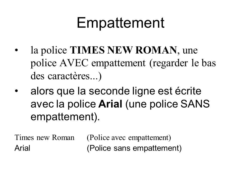 Empattement la police TIMES NEW ROMAN, une police AVEC empattement (regarder le bas des caractères...) alors que la seconde ligne est écrite avec la police Arial (une police SANS empattement).