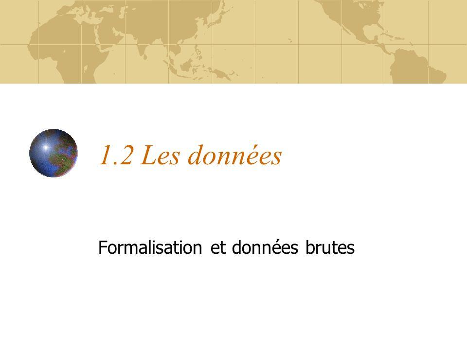 1.2 Les données Formalisation et données brutes
