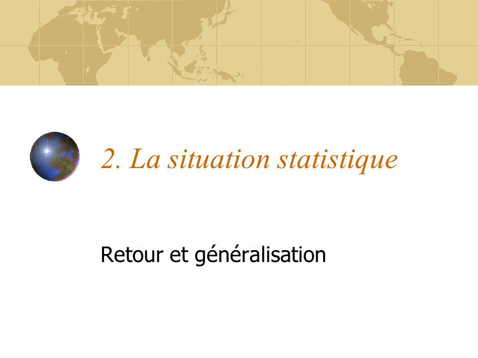 2. La situation statistique Retour et généralisation