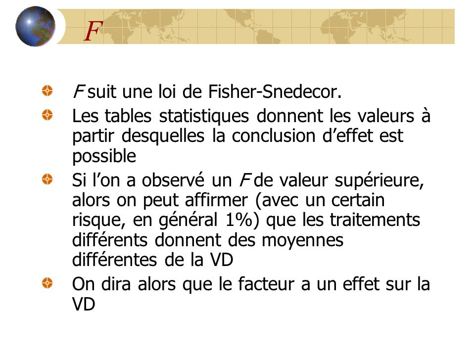 F F suit une loi de Fisher-Snedecor.