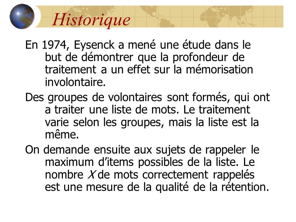 Historique En 1974, Eysenck a mené une étude dans le but de démontrer que la profondeur de traitement a un effet sur la mémorisation involontaire. Des