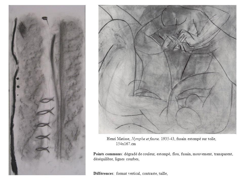Henri Matisse, Nymphe et faune, 1935-43, fusain estompé sur toile, 154x167.cm Points communs: dégradé de couleur, estompé, flou, fusain, mouvement, tr