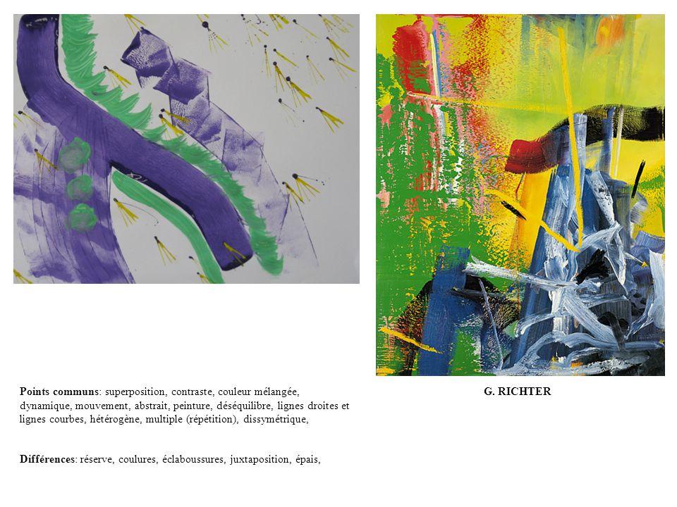 G. RICHTERPoints communs: superposition, contraste, couleur mélangée, dynamique, mouvement, abstrait, peinture, déséquilibre, lignes droites et lignes