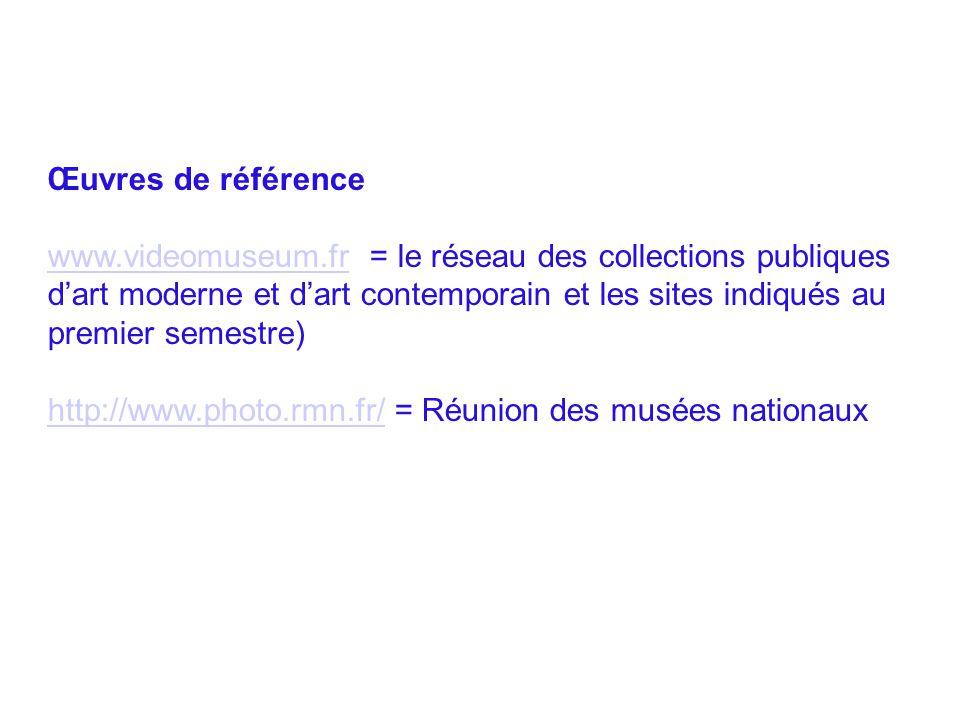 Œuvres de référence www.videomuseum.frwww.videomuseum.fr = le réseau des collections publiques d'art moderne et d'art contemporain et les sites indiqu