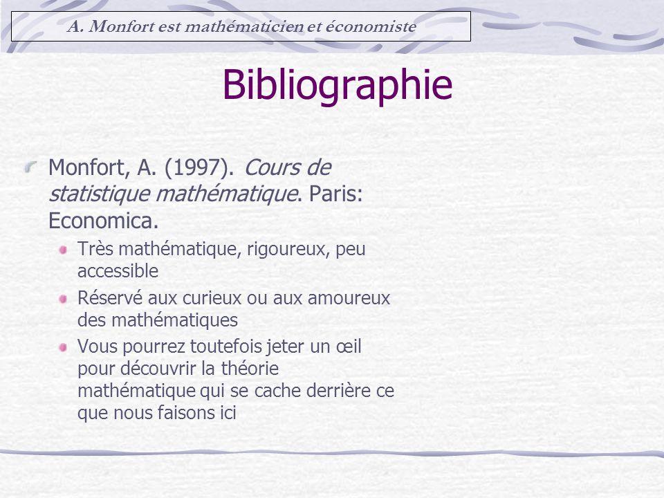 Bibliographie Monfort, A.(1997). Cours de statistique mathématique.