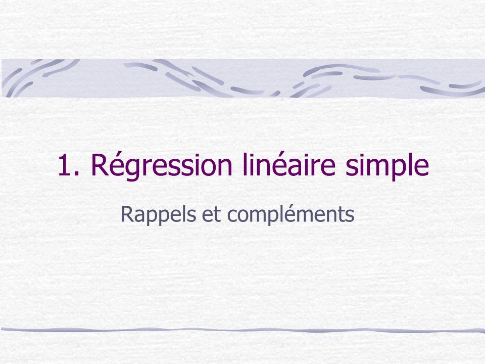 1. Régression linéaire simple Rappels et compléments