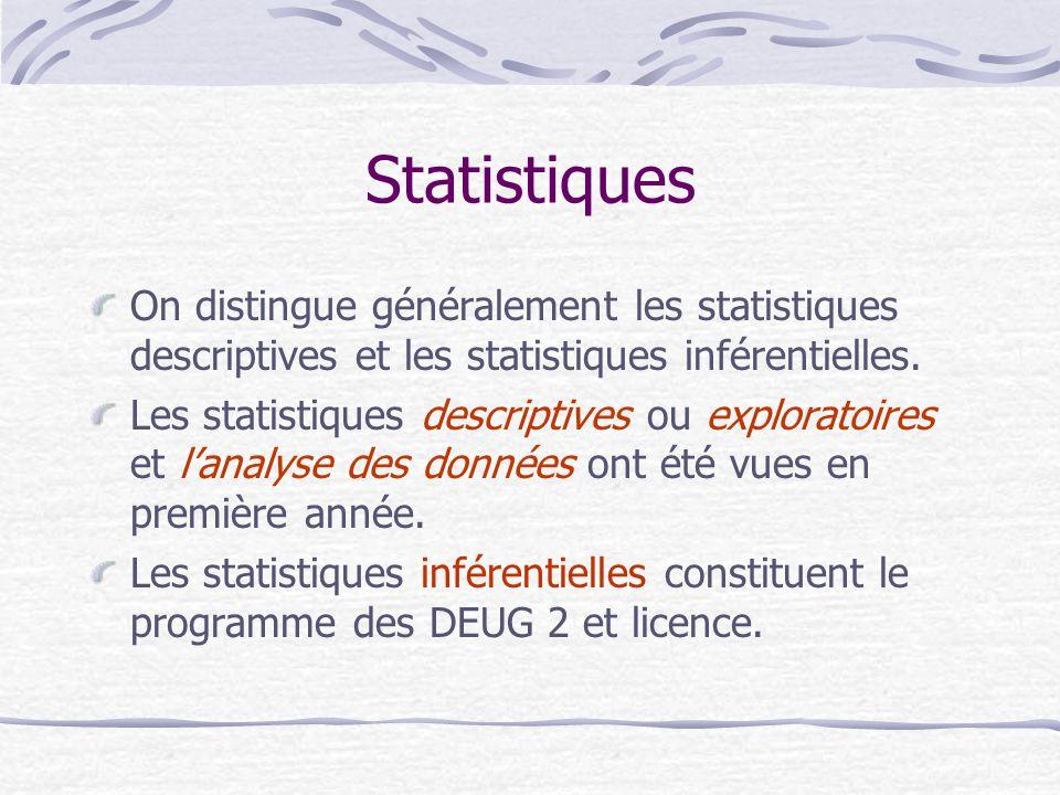 Statistiques On distingue généralement les statistiques descriptives et les statistiques inférentielles.