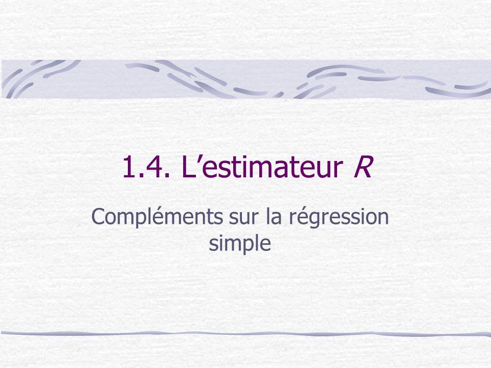1.4. L'estimateur R Compléments sur la régression simple