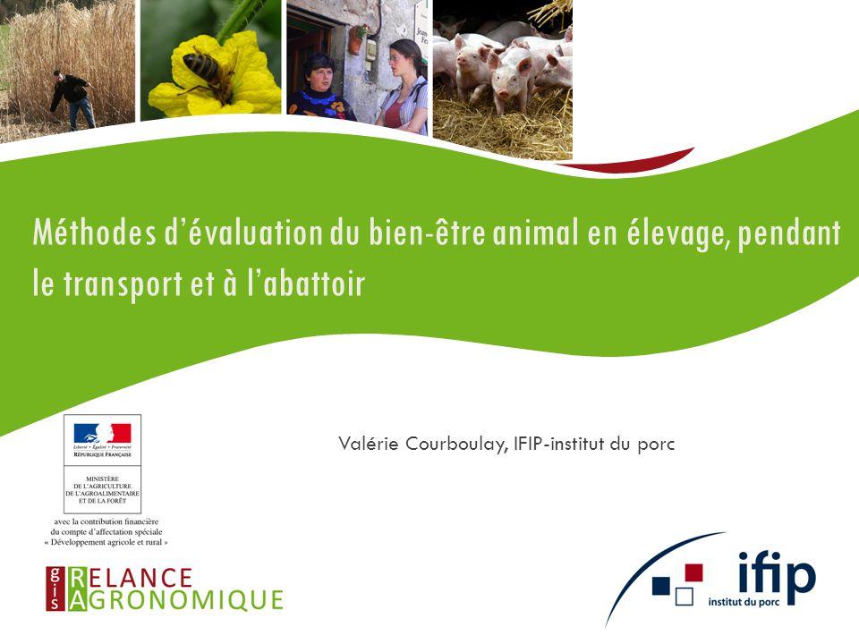 Les partenaires RMT bien-être animal et système d'élevage IFIP – IDELE – ITAVI CRA Bretagne – Pays de Loire INRA ONIRIS – AGROSUP Dijon – AgroParisTech-ISARA – ISA ANSES Université Rennes 1 CCMSA Méthodes d'évaluation du bien-être