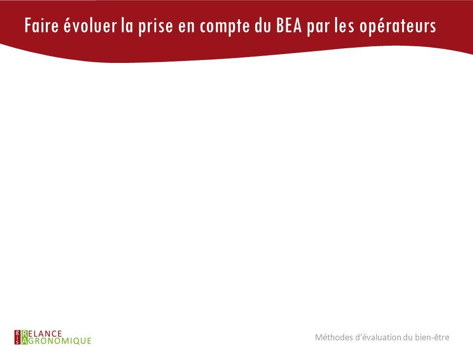 Faire évoluer la prise en compte du BEA par les opérateurs Méthodes d'évaluation du bien-être
