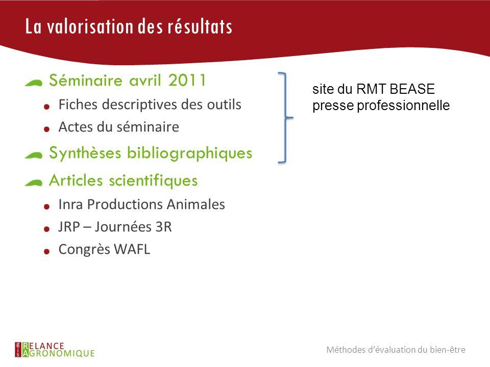 La valorisation des résultats Séminaire avril 2011 Fiches descriptives des outils Actes du séminaire Synthèses bibliographiques Articles scientifiques