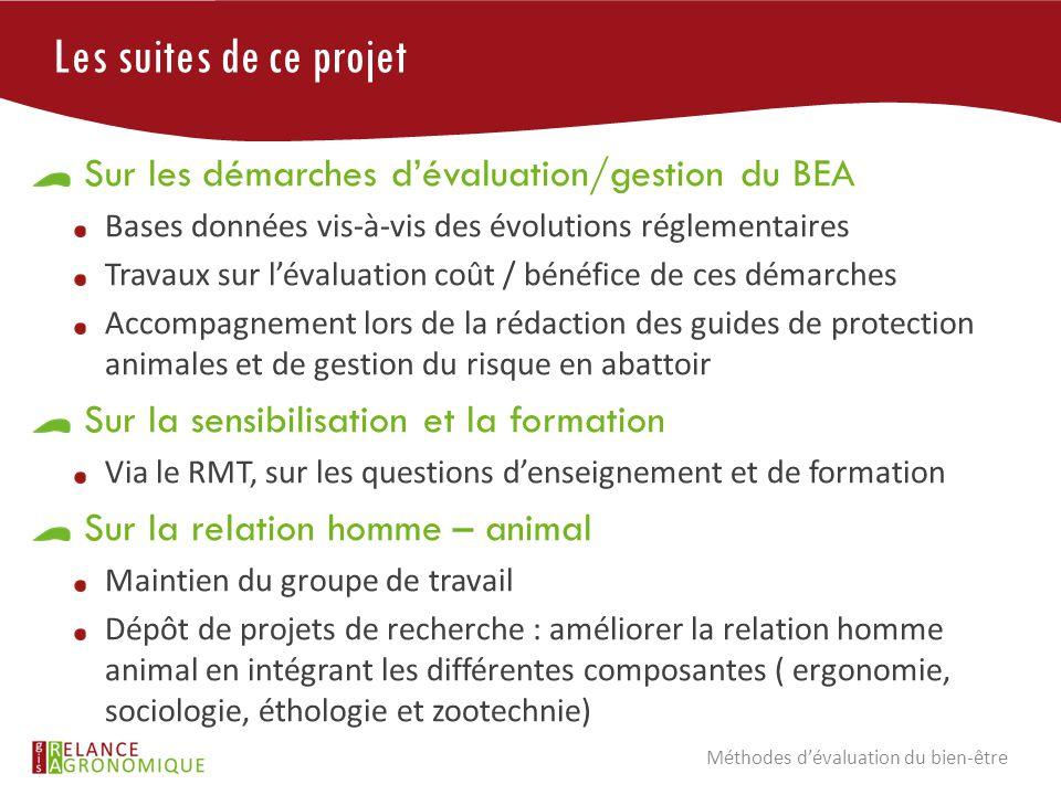 Les suites de ce projet Sur les démarches d'évaluation/gestion du BEA Bases données vis-à-vis des évolutions réglementaires Travaux sur l'évaluation c