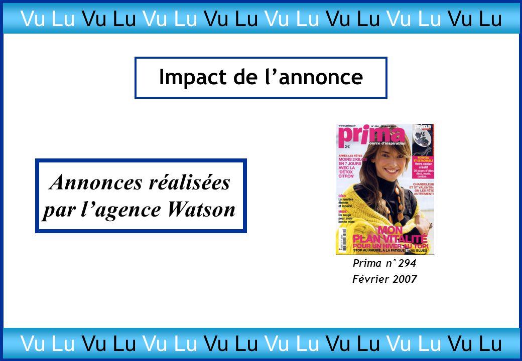 Impact de l'annonce Prima n°294 Février 2007 Annonces réalisées par l'agence Watson Vu Lu Vu Lu Vu Lu Vu Lu