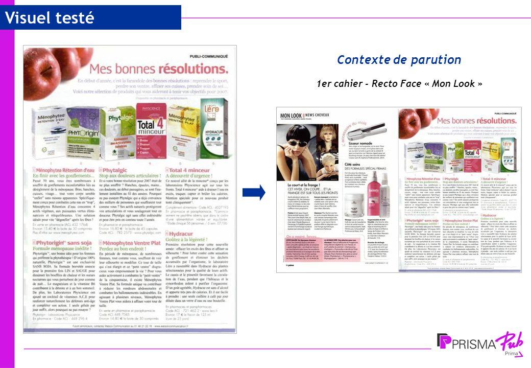 4 Contexte de parution Visuel testé 1er cahier - Recto Face « Mon Look »