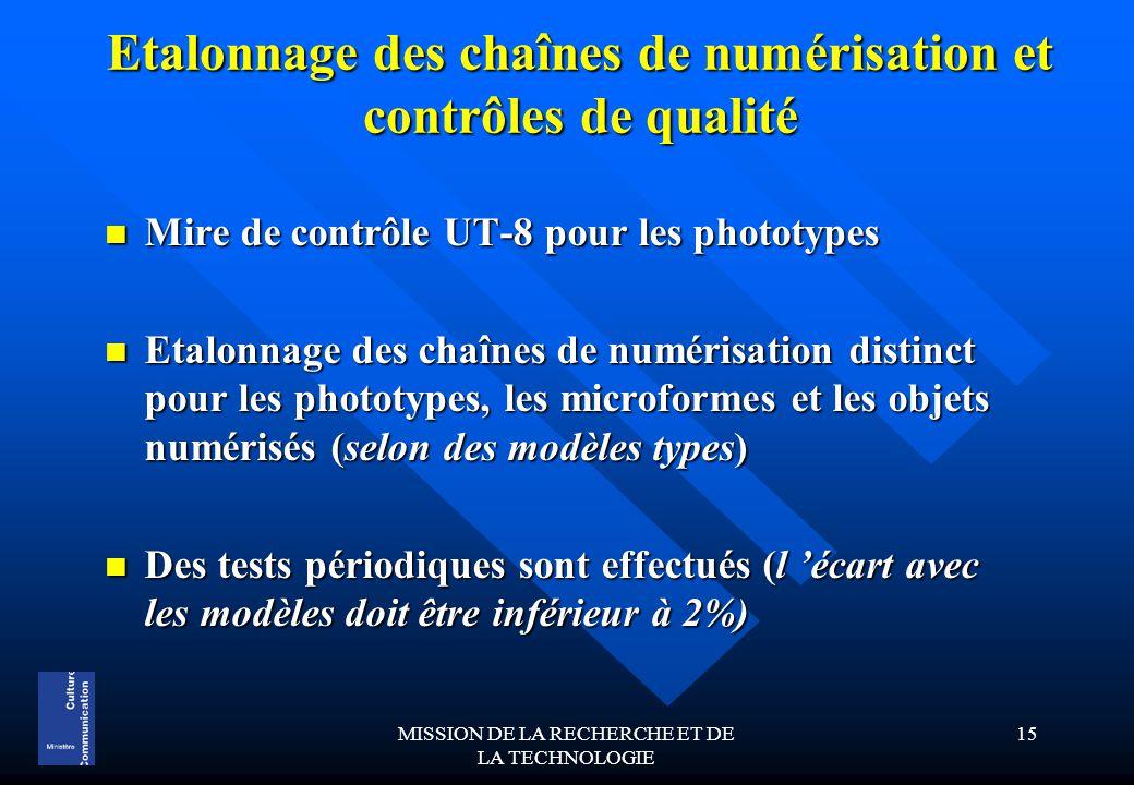 MISSION DE LA RECHERCHE ET DE LA TECHNOLOGIE 15 Etalonnage des chaînes de numérisation et contrôles de qualité Mire de contrôle UT-8 pour les phototypes Mire de contrôle UT-8 pour les phototypes Etalonnage des chaînes de numérisation distinct pour les phototypes, les microformes et les objets numérisés (selon des modèles types) Etalonnage des chaînes de numérisation distinct pour les phototypes, les microformes et les objets numérisés (selon des modèles types) Des tests périodiques sont effectués (l 'écart avec les modèles doit être inférieur à 2%) Des tests périodiques sont effectués (l 'écart avec les modèles doit être inférieur à 2%)
