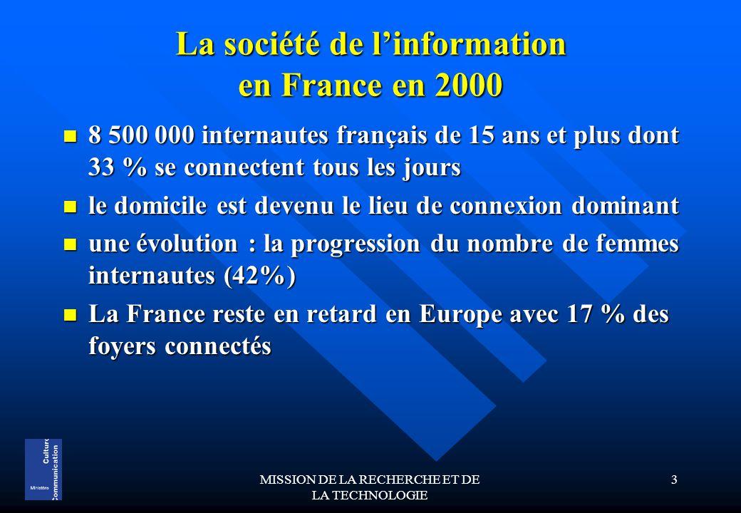 MISSION DE LA RECHERCHE ET DE LA TECHNOLOGIE 3 La société de l'information en France en 2000 8 500 000 internautes français de 15 ans et plus dont 33 % se connectent tous les jours 8 500 000 internautes français de 15 ans et plus dont 33 % se connectent tous les jours le domicile est devenu le lieu de connexion dominant le domicile est devenu le lieu de connexion dominant une évolution : la progression du nombre de femmes internautes (42%) une évolution : la progression du nombre de femmes internautes (42%) La France reste en retard en Europe avec 17 % des foyers connectés La France reste en retard en Europe avec 17 % des foyers connectés