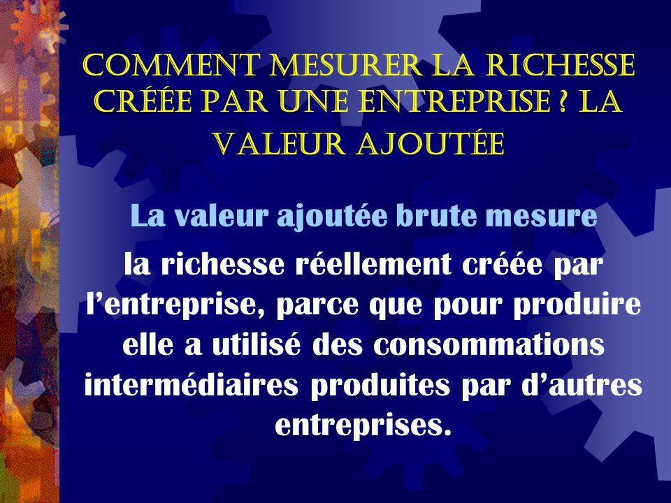 Comment mesurer la richesse créée par une entreprise ? La valeur ajoutée La valeur ajoutée brute mesure la richesse réellement créée par l'entreprise,