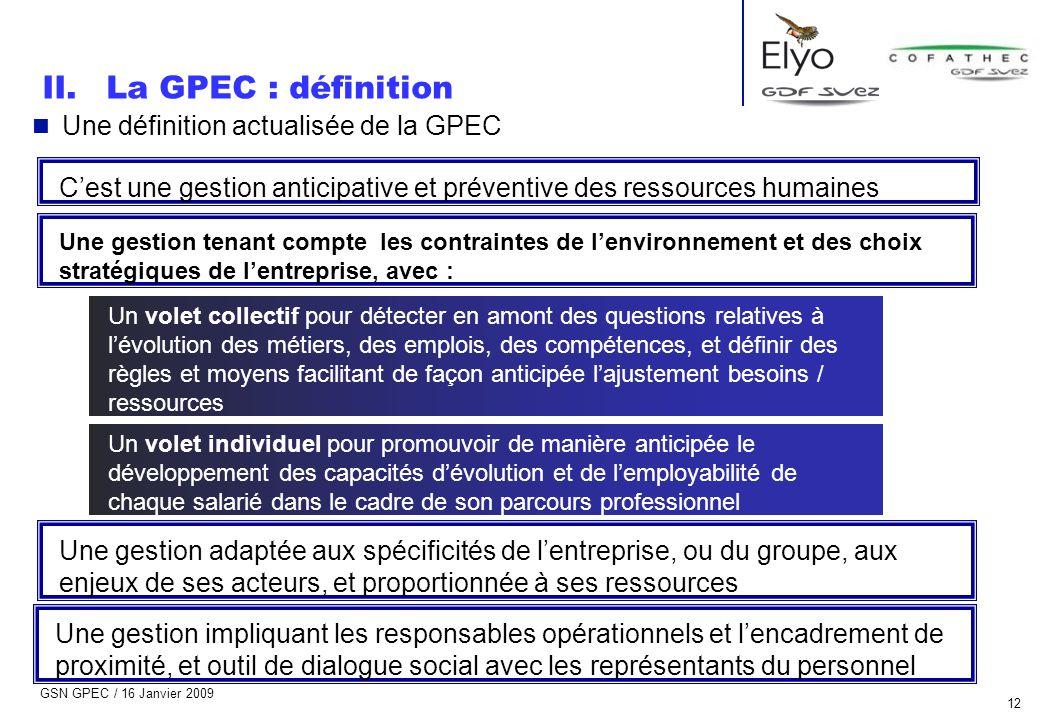 GSN GPEC / 16 Janvier 2009 12 n Une définition actualisée de la GPEC C'est une gestion anticipative et préventive des ressources humaines Une gestion