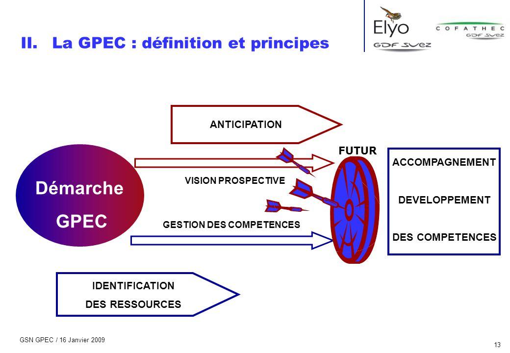GSN GPEC / 16 Janvier 2009 13 IDENTIFICATION DES RESSOURCES ANTICIPATION ACCOMPAGNEMENT DEVELOPPEMENT DES COMPETENCES Démarche GPEC GESTION DES COMPET