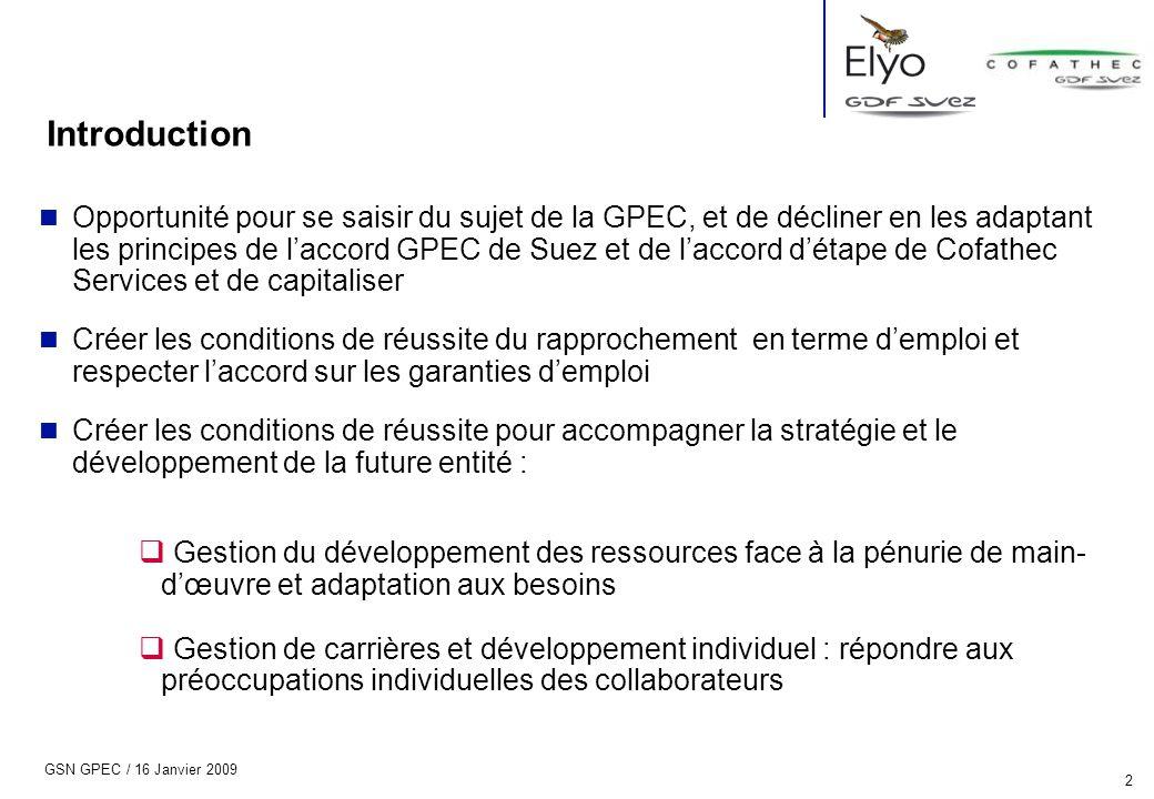 GSN GPEC / 16 Janvier 2009 2 Introduction n Opportunité pour se saisir du sujet de la GPEC, et de décliner en les adaptant les principes de l'accord G