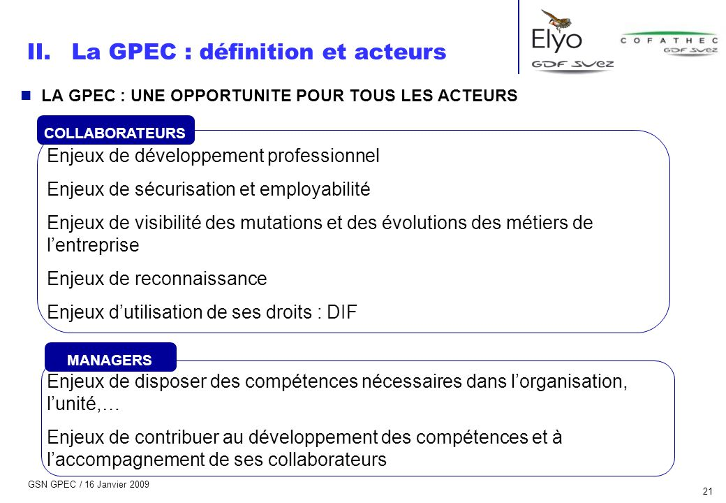GSN GPEC / 16 Janvier 2009 21 n LA GPEC : UNE OPPORTUNITE POUR TOUS LES ACTEURS Enjeux de développement professionnel Enjeux de sécurisation et employ
